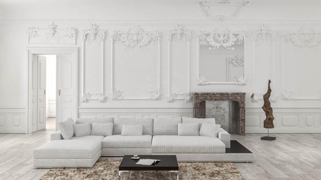 Salon stylizowany naklasyczny, bogate sztukaterie