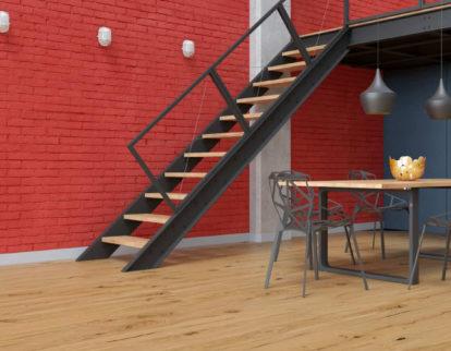 Schody w salonie - aranżacja pomieszczenia z podłogą Baltic Wood